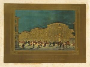 Illuminazione del Regio Arsenale in occasione delle feste per le nozze di Vittorio Emanuele di Savoia e Maria Adelaide, nell'aprile 1842. © Archivio Storico della Città di Torino