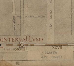 Tratti delle mura della città romana su via Santa Teresa e piazza San Carlo