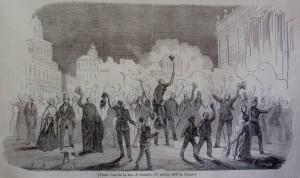 Piazza Castello la sera di domenica 31 ottobre 1847. Litografia da