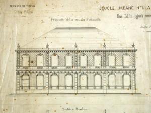 Progetto di costruzione dell'edificio femminile della scuola elementare Moncenisio, una delle prime espressioni dell'edilizia scolastica torinese. © Archivio Storico della Città di Torino