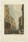 Partenza della cavalleria piemontese da piazza Palazzo di Città. Litografia di Carlo Perrin, 1860. © Archivio Storico della Città di Torino