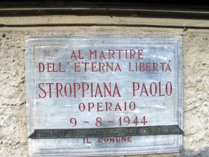 Lapide dedicata a Stroppiana Paolo (1919 - 1944)