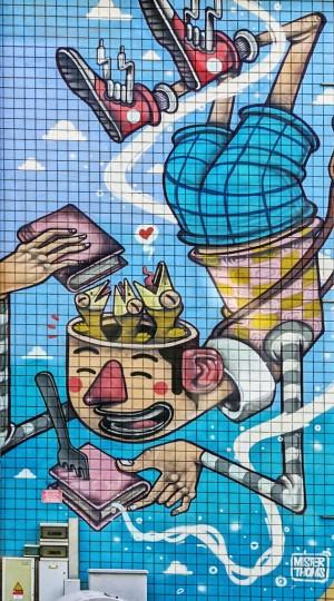 Mr Thoms, senza titolo, dettaglio del murale, 2012, scuola Rousseau. Fotografia di Roberto Cortese, 2017 © Archivio Storico della Città di Torino
