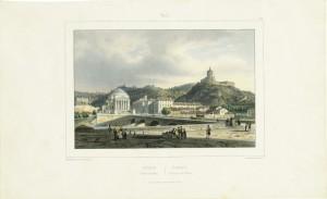 Veduta della chiesa della Gran Madre di Dio e del monte dei Cappuccini, cromolitografia 1845. © Archivio Storico della Città di Torino.