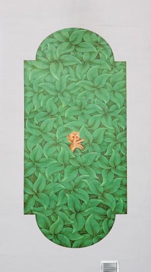 Mercurio, Canto metropolitano, 1995, opera murale per MAU Museo Arte Urbana, via Musinè 27. Fotografia di Roberto Cortese, 2018 © Archivio Storico della Città di Torino