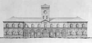 Giovanni Castellazzi, Pianta, prospetto e sezione del nuovo Arsenale di Borgo Dora, 1862 (Istituto Storico e di Cultura dell'arma del Genio di Roma).