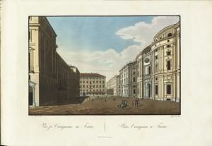 Palazzo e piazza Carignano, incisione di Zanconi su disegno di Moutier. © Archivio Storico della Città di Torino.