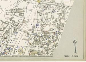 Bombe e mezzi incendiari lanciati 1:5000, 1942-1945. Zona 15: Borgate Parella e Lionetto - Aeronautica - Pellerina. ASCT, Tipi e disegni, cart. 68, fasc. 1 disegno 15, quadrante 2. © Archivio Storico della Città di Torino