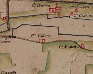 Cascina Le Vallette. Carta delle Regie Cacce, 1816, ©Archivio di Stato di Torino