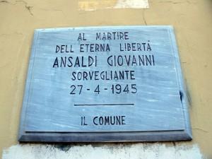 Lapide dedicata a Giovanni Ansaldi