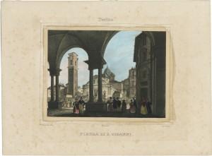 Piazza San Giovanni e Duomo. Cromolitografia di D. Festa da disegno di F. Gonin, 1833. © Archivio Storico della Città di Torino