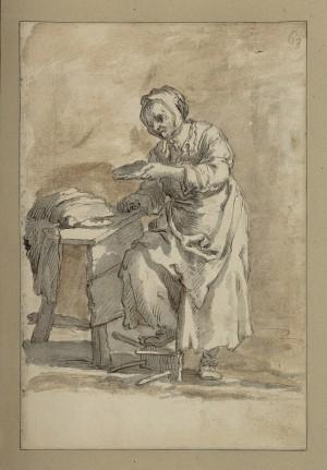 Pietro Domenico Olivero (1679-1755), Donna anziana, disegno, penna su carta, mm.166x250. Torino, Museo Civico d'Arte Antica e Palazzo Madama, inv. 2451/DS
