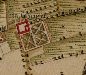 Cascina La Grangia, Grange. Carta Topografica della Caccia, 1760-1766 circa, © Archivio di Stato di Torino.