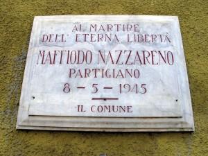 Lapide dedicata a Nazzareno Maffiodo (1927 - 1945)