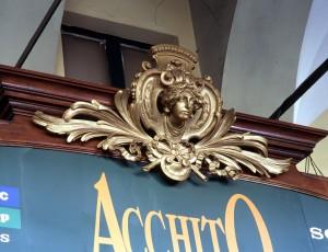 ex Acchito, video-stereo; ex Angelo Sciamengo, pasticceria, particolare del fregio, 1998 © Regione Piemonte