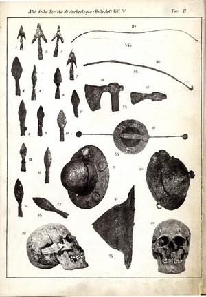 Armi e crani da Testona riprodotti nella tavola II della pubblicazione dei Calandra del 1880.