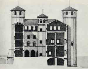Alfredo d'Andrade, Ipotesi ricostruttiva del castello quattrocentesco, ca. 1884. © Fondazione Torino Musei, Fondo d'Andrade