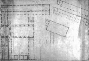 Planimetria del piano terra del complesso della Cavallerizza, ca. 1860. Archivio di Stato di Torino, Genio Civile.© Archivio di Stato di Torino