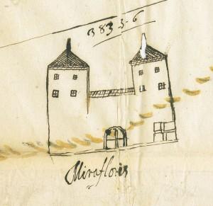 Cascina Mirafiori. Bronzo, Planimetria dei territori tra Torino e Moncalieri, 1622, © Archivio Storico della Città di Torino