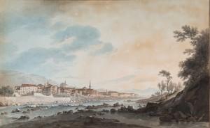 """Giuseppe Pietro Bagetti, Veduta di paese, 1807-1820, firmato in basso a destra """"Bagetti pinxit"""", acquerello su carta (GS Inv. 716, Cat. 100 bis). Musei Reali Torino-Galleria Sabauda"""