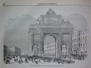 Arco trionfale innalzato in Piazza Vittorio Emanuele il 4 dicembre 1847. Litografia da