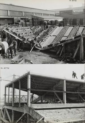 L'ampliamento dei fabbricati D.E.A. nel 1962. © Archivio MAXXI Roma, Fondo Nervi.