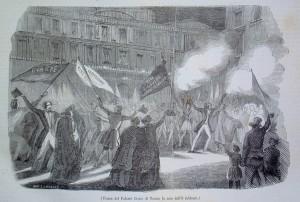 Piazza Palazzo di Città la sera dell'8 febbraio 1848. Litografia da