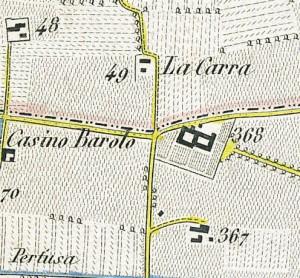 Cascina Barolo. Antonio Rabbini , Topografia della Città e Territorio di Torino, 1840. © Archivio Storico della Città di Torino