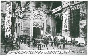 Pepino, Grande Ristorante Birreria già Dreher, ripresa fotografica del 1908-1910 (Riproduzione da libro: Artusio, L. - Bocca, M. - Governato, M., 2005 p. 60 n.111)