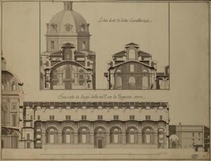 Benedetto Alfieri, Piante e sezioni di progetto della nuova Cavallerizza, 1763 (Archivio di Stato di Torino, Palazzi reali).