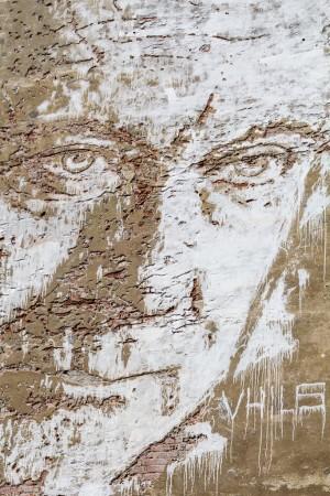 Vhils, particolare del murale, 2013, via Nizza 50. Fotografia di Roberto Cortese, 2017 © Archivio Storico della Città di Torino