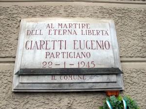 Lapide dedicata a Eugenio Giaretti (1917 - 1945)