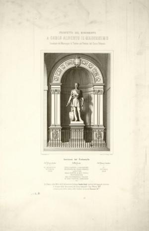 Monumento a Carlo Alberto in Palazzo Civico, stampa, 1859