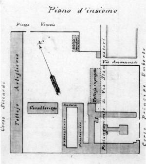 I bassi fabbricati militari nell'area adiacente alla seconda Piazza d'Armi, oggi complesso infrastrutturale città di Torino (Scuola di Applicazione e Istituto di Studi militari dell'Esercito Italiano). © Archivio Storico della Città di Torino