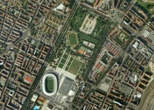 Veduta aerea dell'area di Piazza d'armi (oggi Parco Cavalieri di Vittorio Veneto).