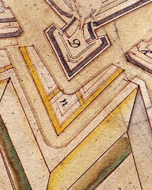 Il bastione San Lazzaro con la progettata controguardia edificata nel 1705 in Archivio Storico della Città di Torino, Disegni (particolare).