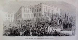 Veduta di Piazza Vittorio Emanuele il giorno 3 novembre 1847. Litografia da