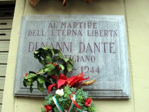 Lapide dedicata a Dante Di Nanni (1925 - 1944)