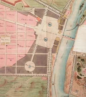 Gaetano Lombardi, Particolare dell'ipotesi progettuale per la nuova piazza di Po, 1817 (Archivio di Stato di Torino, Paesi per A e B).