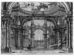 Bernardino e Fabrizio Galliari, Luogo magnifico, 1750, disegno a inchiostro su carta, mm 188x276. Torino, Museo Civico e Palazzo Madama, inv. 2567/DS