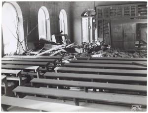 Regia Università, Facoltà di Magistero, Via della Cittadella 3. Effetti prodotti dai bombardamenti dell'incursione aerea del 9 dicembre 1942. UPA 3024D_9D02-51. © Archivio Storico della Città di Torino