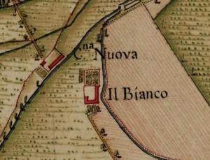 Cascina Bianco nel quartiere Vallette. Carta Topografica della Caccia, 1760-1766 circa, ©Archivio di Stato di Torino