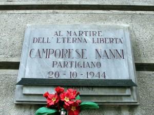 Lapide dedicata a Camporese Nanni (1925 - 1944)