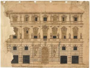 Facciata del Palazzo di Città, disegno di Francesco Lanfranchi, 1659 © Archivio Storico della Città di Torino
