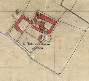 Cascina Tetti Basse di Dora. Catasto Rabbini, 1866, ©Archivio di Stato di Torino.