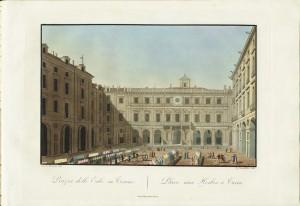 Piazza delle Erbe. Incisione acquerellata di G. Castellini su disegno di A. J. Moutier. © Archivio Storico della Città di Torino.