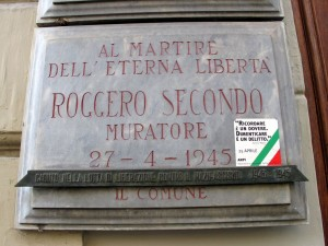 Lapide dedicata a Secondo Roggero (1901 - 1945)