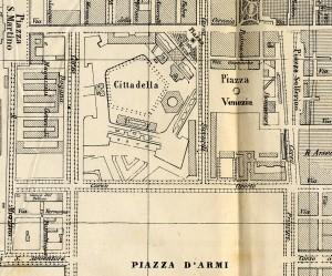 Il bastione S. Lazzaro ancora visibile nel tessuto urbano alla fine degli anni Sessanta dell'Ottocento da BARICCO 1869 (particolare).