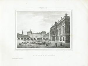 Veduta di Piazza Castello. Litografia di Doyen e Comp. su disegno di E. Gonin, 1839. © Archivio Storico della Città di Torino