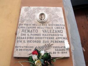 Lapide dedicata a Valezano Renato (1926 - 1944)